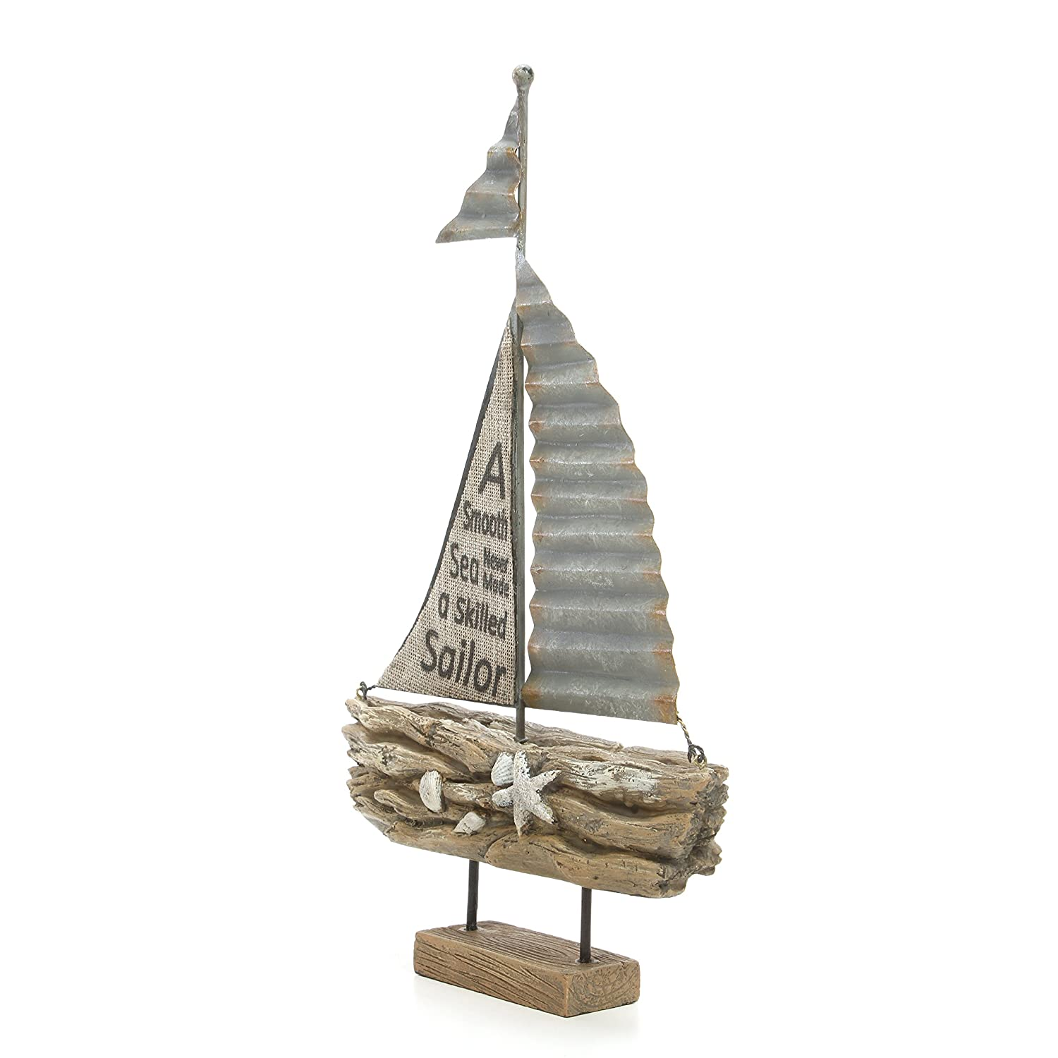 Hosley 13.2 High Home Party Favor Spa Reiki Decorative Tabletop Driftwood Sailboat Bathroom Settings P1 Meditation Ideal Gift for Wedding