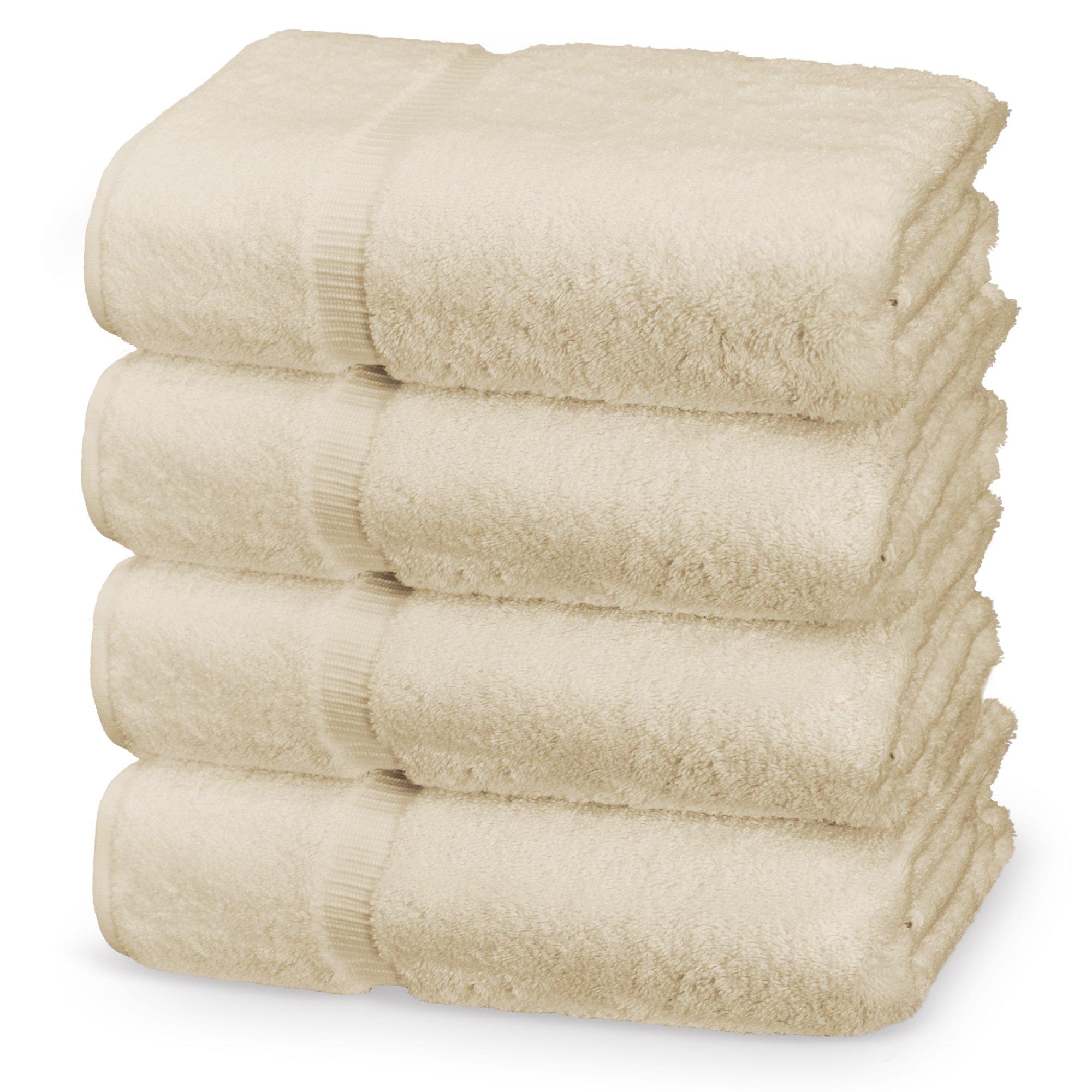 Indulge Linen Dobby Border Towel Sets (Beige, Bath Towels - Set of 4)