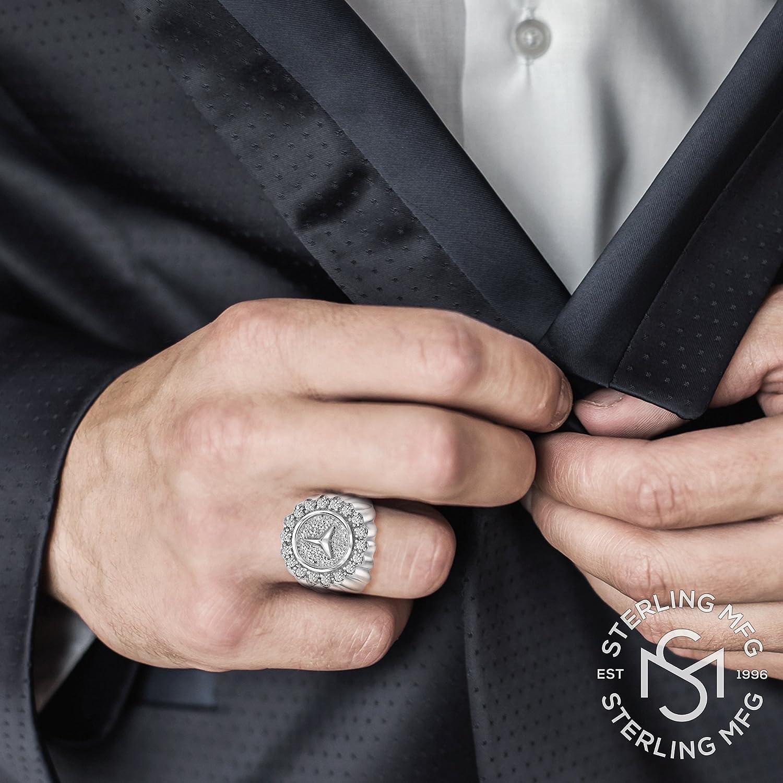 Men\'s Elegant Sterling Silver .925 Designer Ring with Fancy Round ...