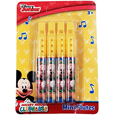 Kid Fun Disney Mickey Mouse Mini Flute Music 4 Pack Instrument Toy: Toys & Games