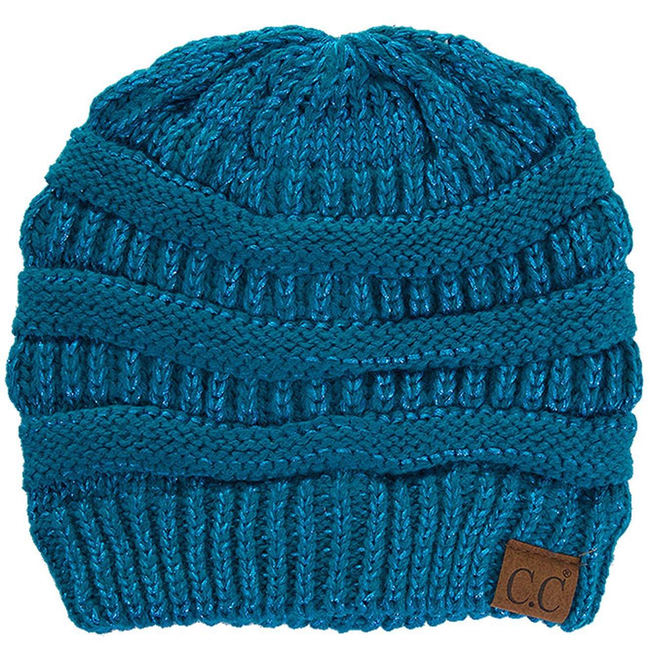 ScarvesMe C.C Trendy Warm Chunky Soft Stretch Cable Knit Beanie (Metallic Teal)
