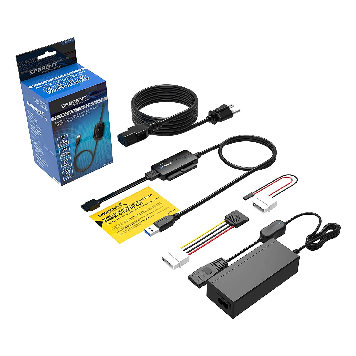 Sabrent Usb 30 To Sata Ide 25 35 525 Inch Hard Drive Wiring Diagram Converter With Power Supply Led Activity Lights 4tb Support Dsc9 Computers