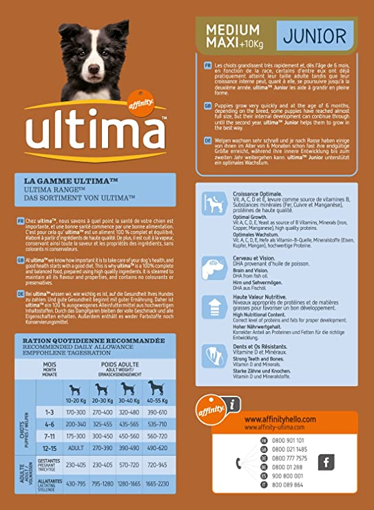 Ultima Medium Maxi Croquettes Pouletriz Pour Chiot 2 Kg
