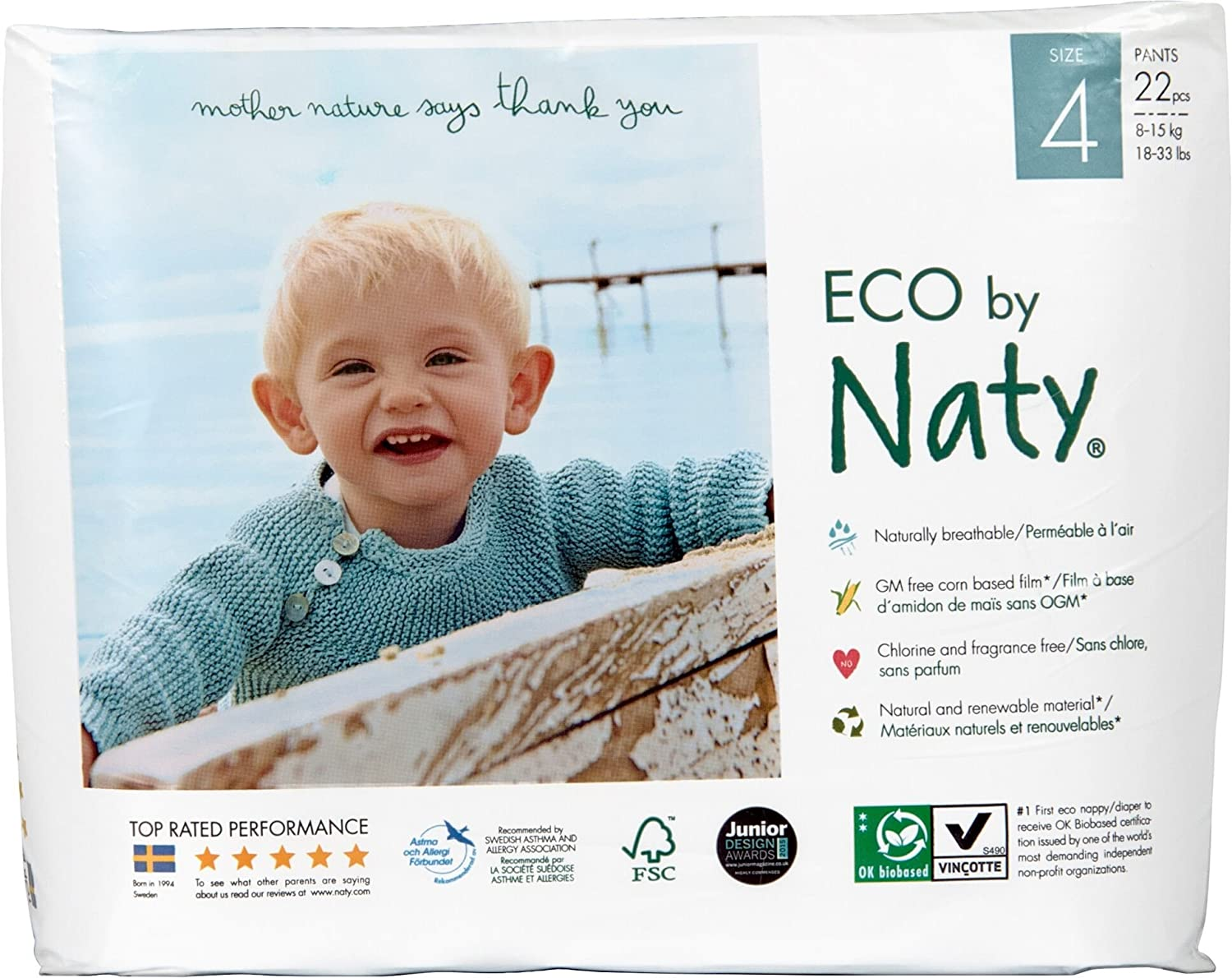 ECO By Naty Pull On Pants, Size 4, 4 packs of 22 (88 Count) Nature Babycare 244091