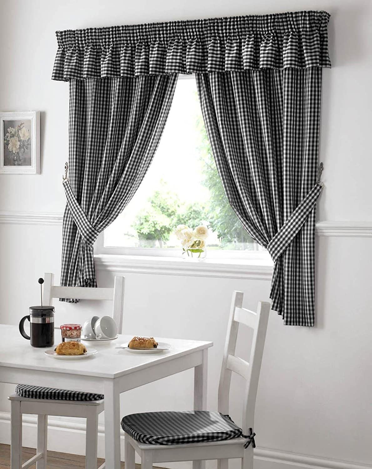 Gingham kitchen curtains black 46 x 48
