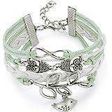 O.R.® (Old Rubin)Bracelet en cuir véritable et en alliage tressé de style rock&punk bracelet réglable avec pendentif numéro 8, branche d'olivier et hibou