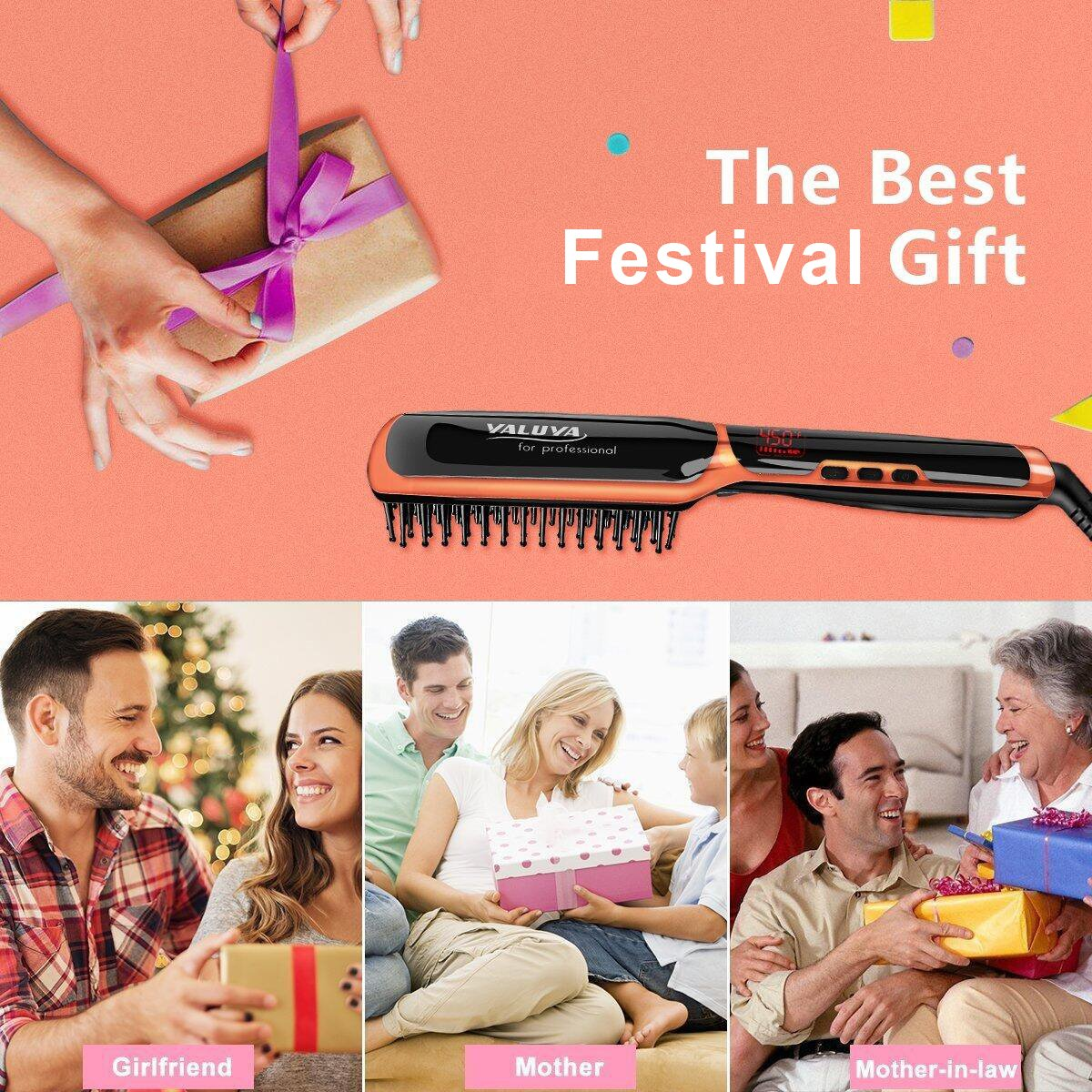 Hair Straightener Brush,YALUYA Ceramic Irons Straightener Brush Detangling and Silky Frizz-free Electric Comb,Amber Gold / Black