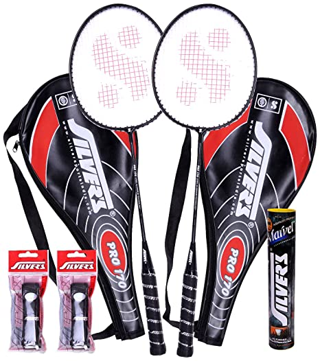 1d2e0e6a0d Buy Silver s Pro-170 Marvel Plus PVC Grips Badminton Racquet Set Online at  Low Prices in India - Amazon.in