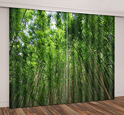 LB Bamboo Forest Window Curtains For Bedroom Living Room,Green Nature  Scenery Teen Kids Room