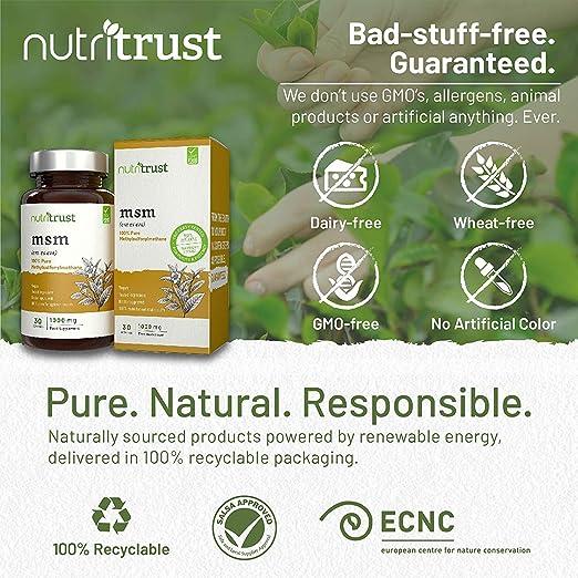 Cápsulas MSM 1000mg Nutritrust® - Metilsulfonilmetano Puro 100% Origen Vegano - Probado en Laboratorios y Aprobado por los Médicos - Fuentes Vegetarianas y ...