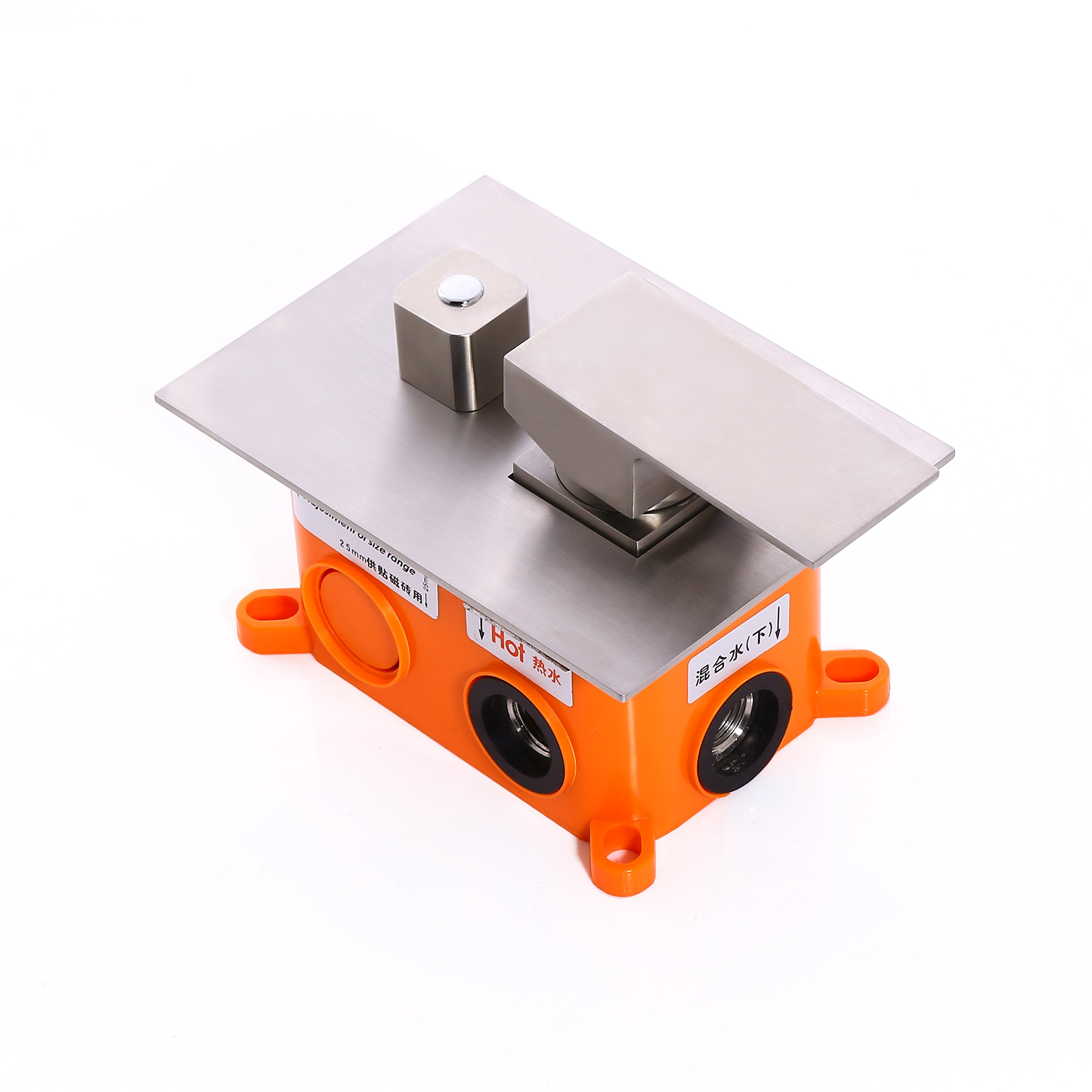 KunMai Dual Function 2-Outlet Brushed Nickel Square Shower Valve with Trims Stainless Steel