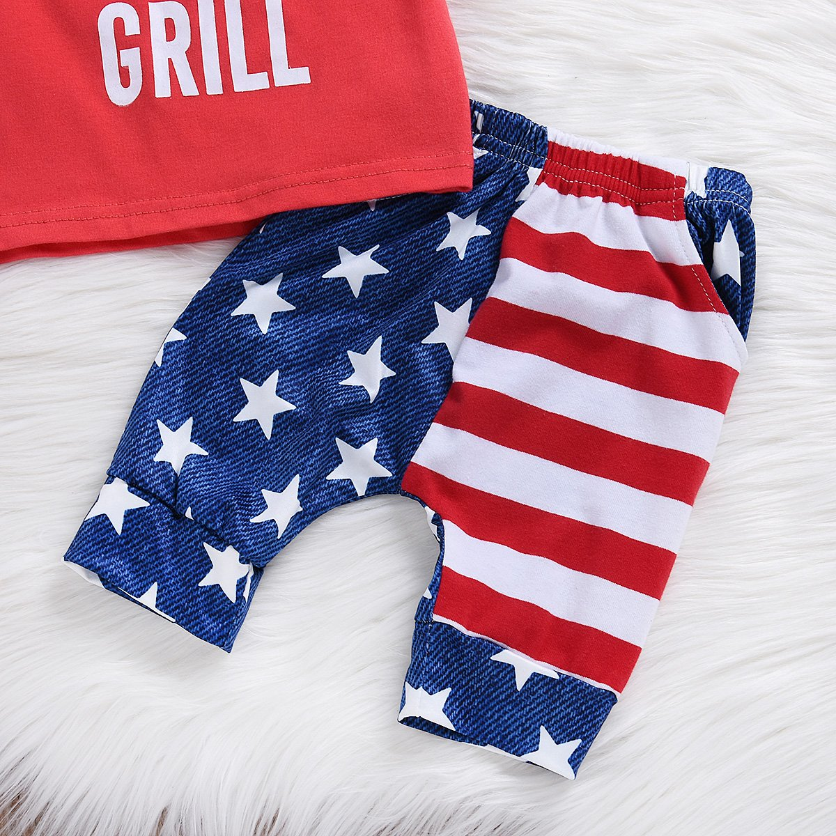 3Pcs Kid Baby Boys Girls Stars Stripes T-Shirt Headband Outfits Set Shorts