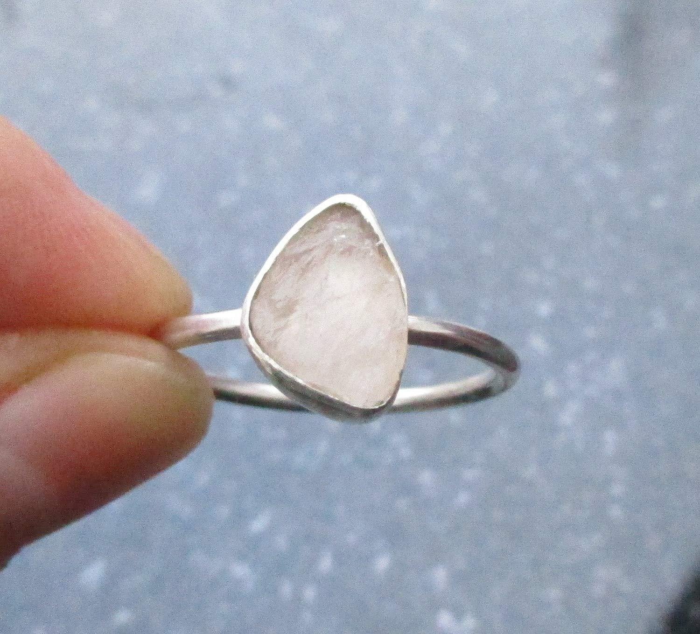 Rose Quartz Ring Rose Quartz Crystal Jewellery,Stone Rings for Women,925 Sterling Gift Silver Unisex Ring Sterling Silver Stacking Rings