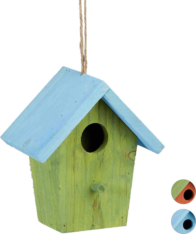 Relaxdays Casita para pájaros, Comedero Colgante de Aves, Adorno de jardín, Madera, 1 Ud, 16x15x8 cm, Verde