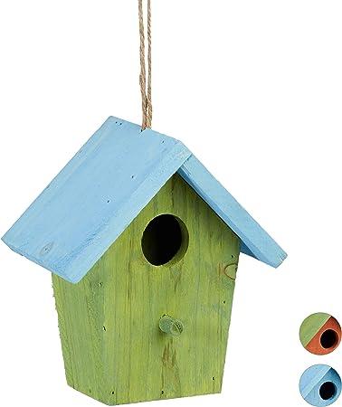 Relaxdays Casita para pájaros, Comedero Colgante de Aves, Adorno de jardín, Madera, 1 Ud, 16x15x8 cm, Verde: Amazon.es: Hogar