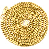 "LOVEBLING 10K Yellow Gold 3.5mm Solid Miami Cuban Link Chain Necklace Lobster Lock 18"" 20"" 22"" 24"" 26"" 28"" 30"""