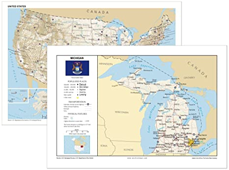 Amazon.com : 13x19 Michigan and 13x19 United States General ...