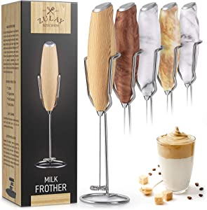 Zulay Milk Frother Handheld Foam Maker With Upgraded Holster Stand - Powerful Coffee Frother Electric Handheld Mixer - Battery Operated Frother For Coffee with Stainless Steel Electric Whisk (Maple)