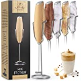 Zulay Milk Frother Handheld Foam Maker With Upgraded Holster Stand - Powerful Coffee Frother Electric Handheld Mixer - Batter