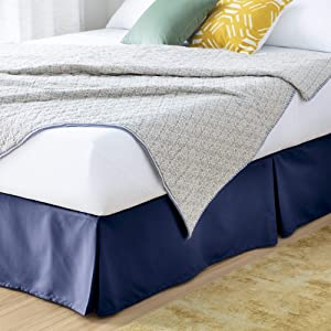 Linenspa LS14TX80NVBE 14 Inch Wrinkle and Fade Resistant-Machine Washable-Easy Use Pleated Microfiber Bed Skirt, Twin XL, Navy