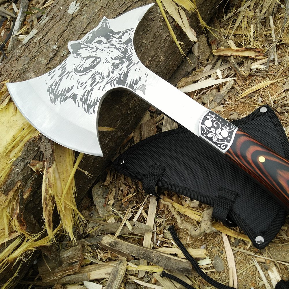 CoolPlus Camping Hatchet with Sheath Outdoor Survival Axe Full Tang Construction Tactical Tomahawk, Etched Wolf Head with Spike, Rose Wood Handle, Perfect for Hiking Hunting Felling Patented Product