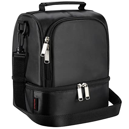 f27ec05518c4 Lunch Bag for Men Beyllord Insulated Lunch Box for Women Adults,  Thermal/Cooler Bento Bag for Office/Picnic, Dual Compartment,Black