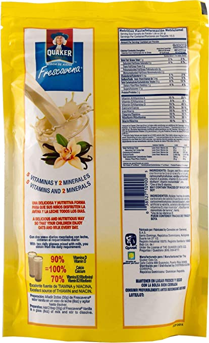 Amazon.com: Quaker FrescAvena Vanilla Flavor Oat Beverage Mix, 11.1-Ounce Package: