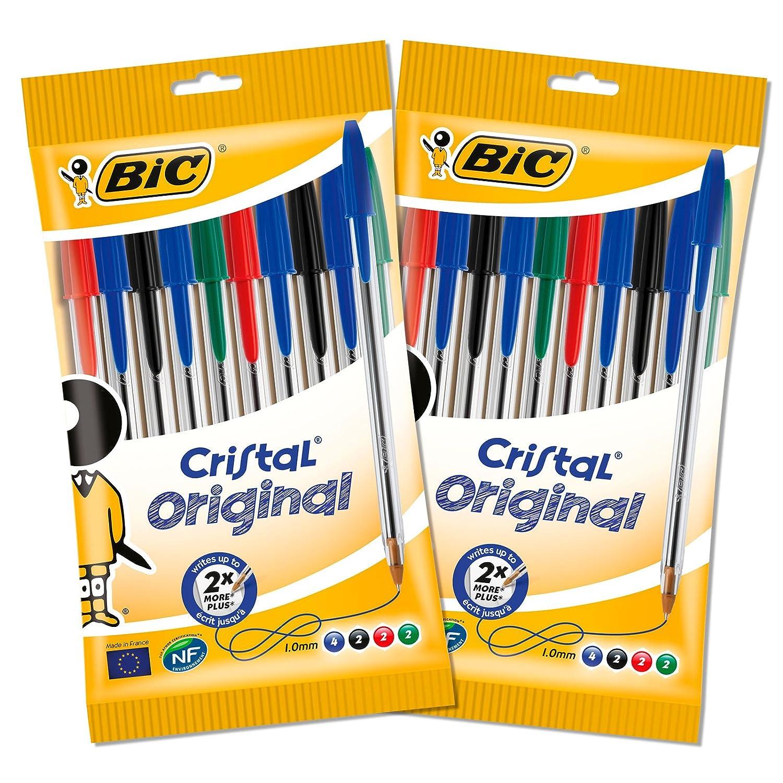 Bic Cristal Original Penna a Sfera, Multicolore, Confezione da 2x10 Penne BIC Italia 962704