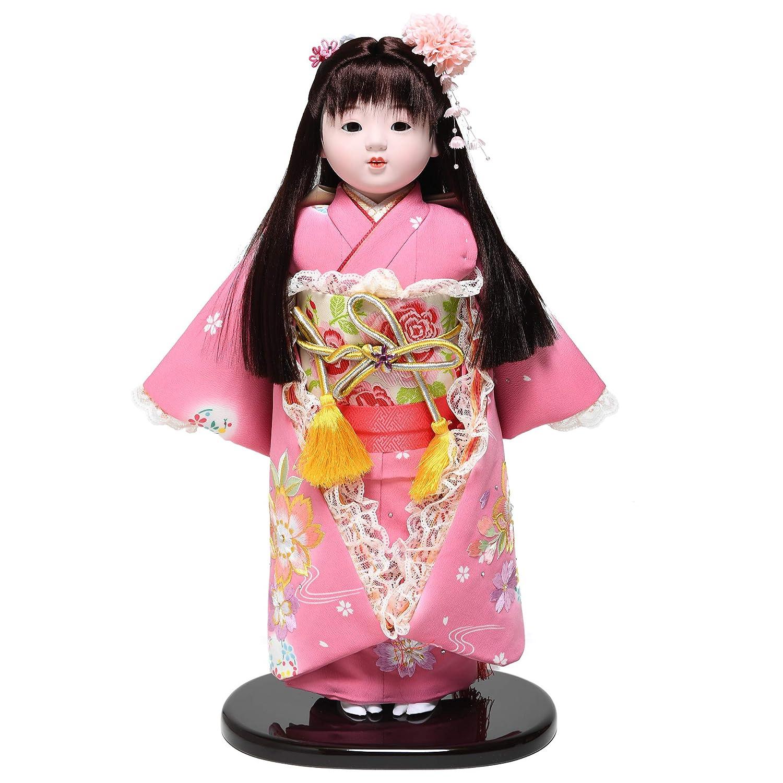 【市松人形】【雛人形】【初節句】13号市松人形:桜刺繍クリスタル衣装:敏光作   B07JVXC5TR