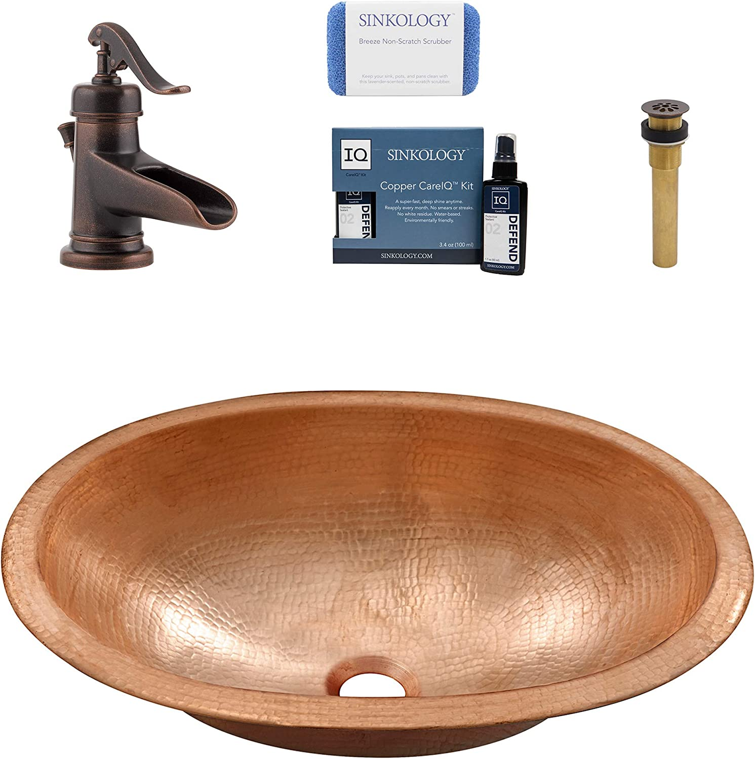 Sinkology SB202-19NU-F042-AMZ Strauss Undermount or Drop-in Copper Bath Sink Pfister Ashfield Faucet and Drain Bathroom All-in-One Kit Naked