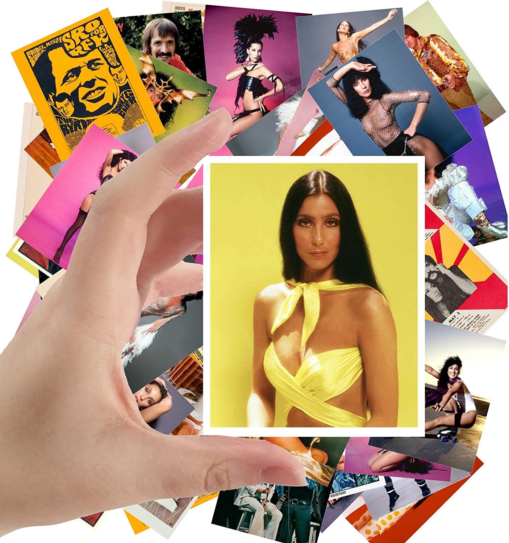 "Large Stickers (24pcs 2.5""x3.5"") CHER Posters Photos Vintage Magazine covers Pop Music Classic"