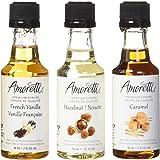 Amoretti Premium Classic Syrups 1.7-Fluid-Ounce, 3-Pack Bottles(French Vanilla, Caramel, Hazelnut)