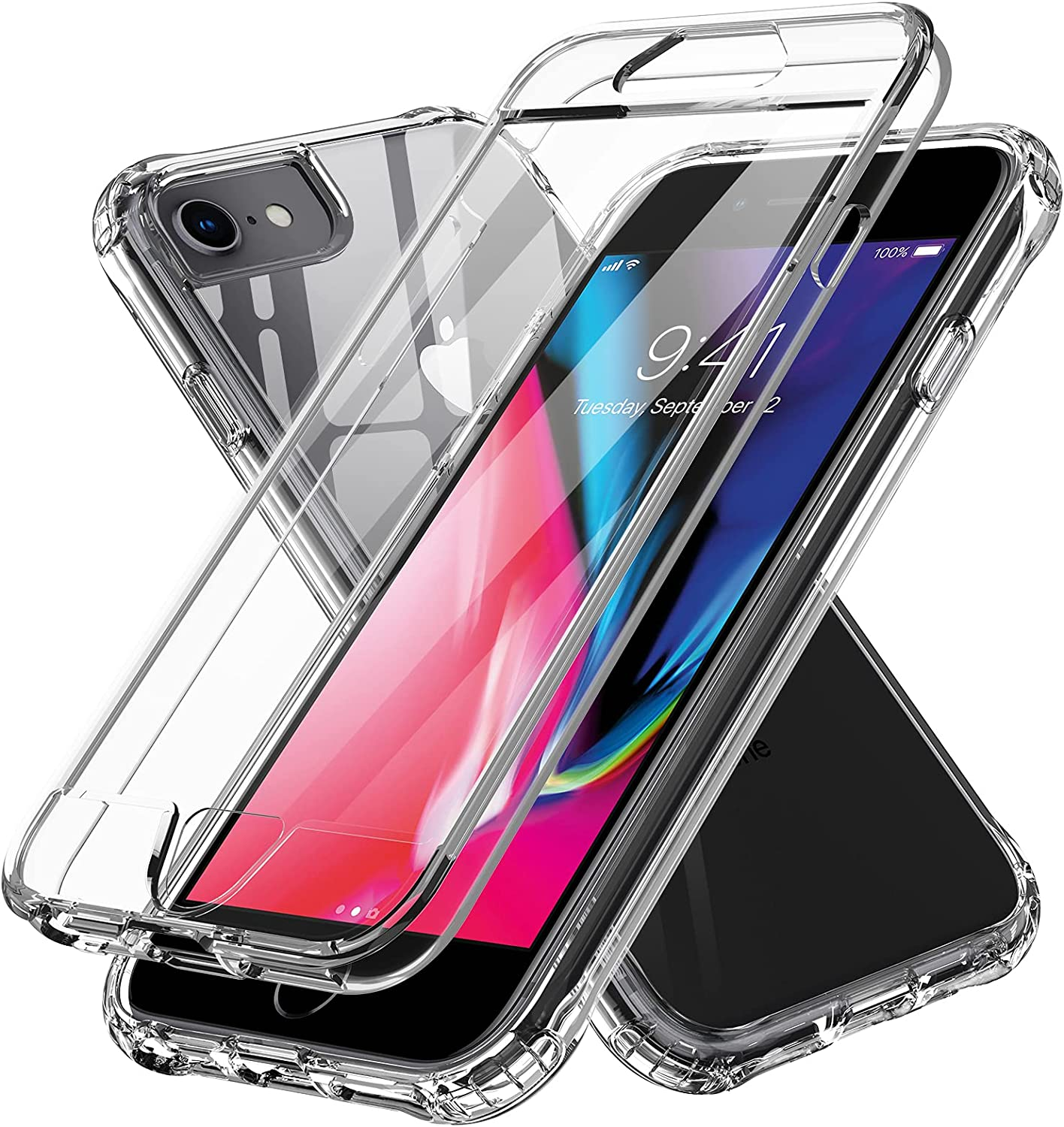 LeYi Compatible with iPhone 8 Case, iPhone SE 2020 Case, iPhone 7 Case with Built-in Screen Protector, 360 Full-Body Protective Dual Layer Shockproof Slim Clear Phone Cover Case for iPhone 6s/6, Clear