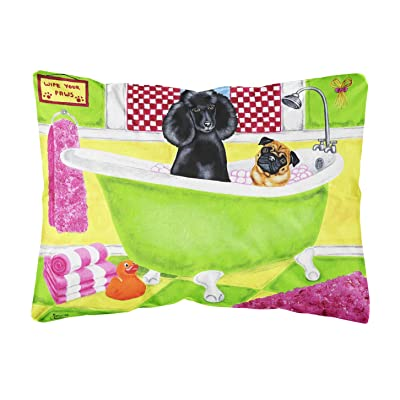 Caroline's Treasures AMB1335PW1216 Tub for Two with Poodle and Pug Fabric Decorative Pillow, 12H x16W, Multicolor : Garden & Outdoor