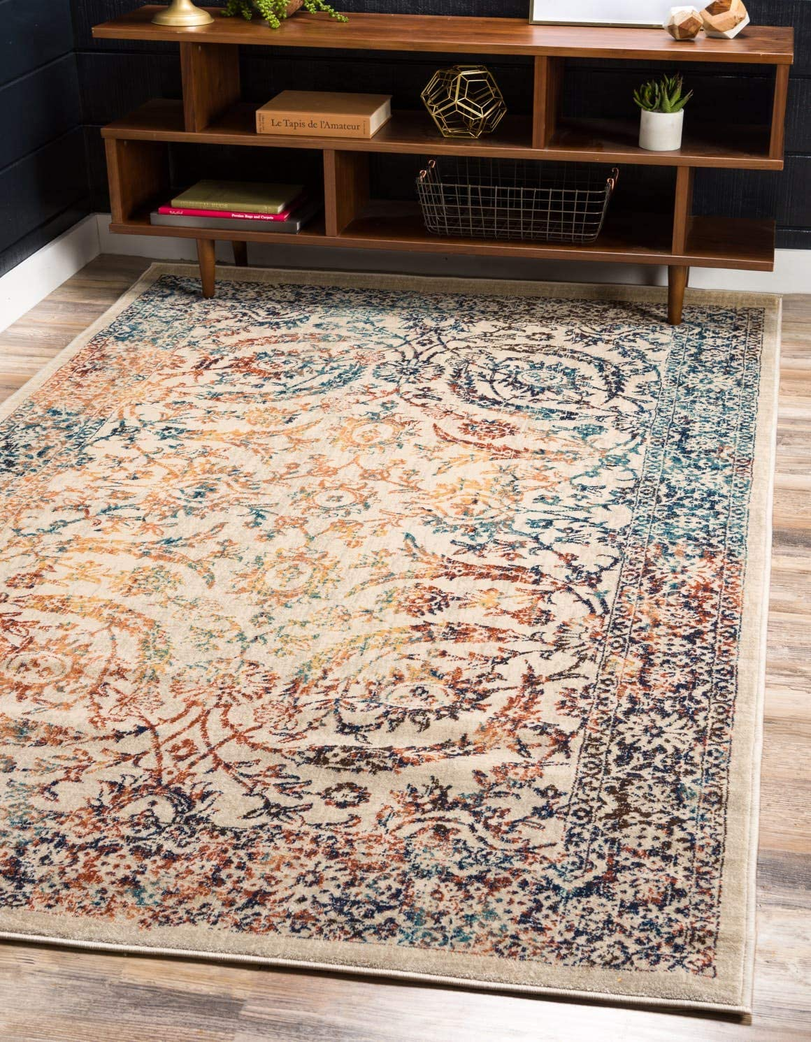 Unique Loom Oslo Collection Distressed Over-Dyed Botanical Tradtional Beige Area Rug 8 x 11