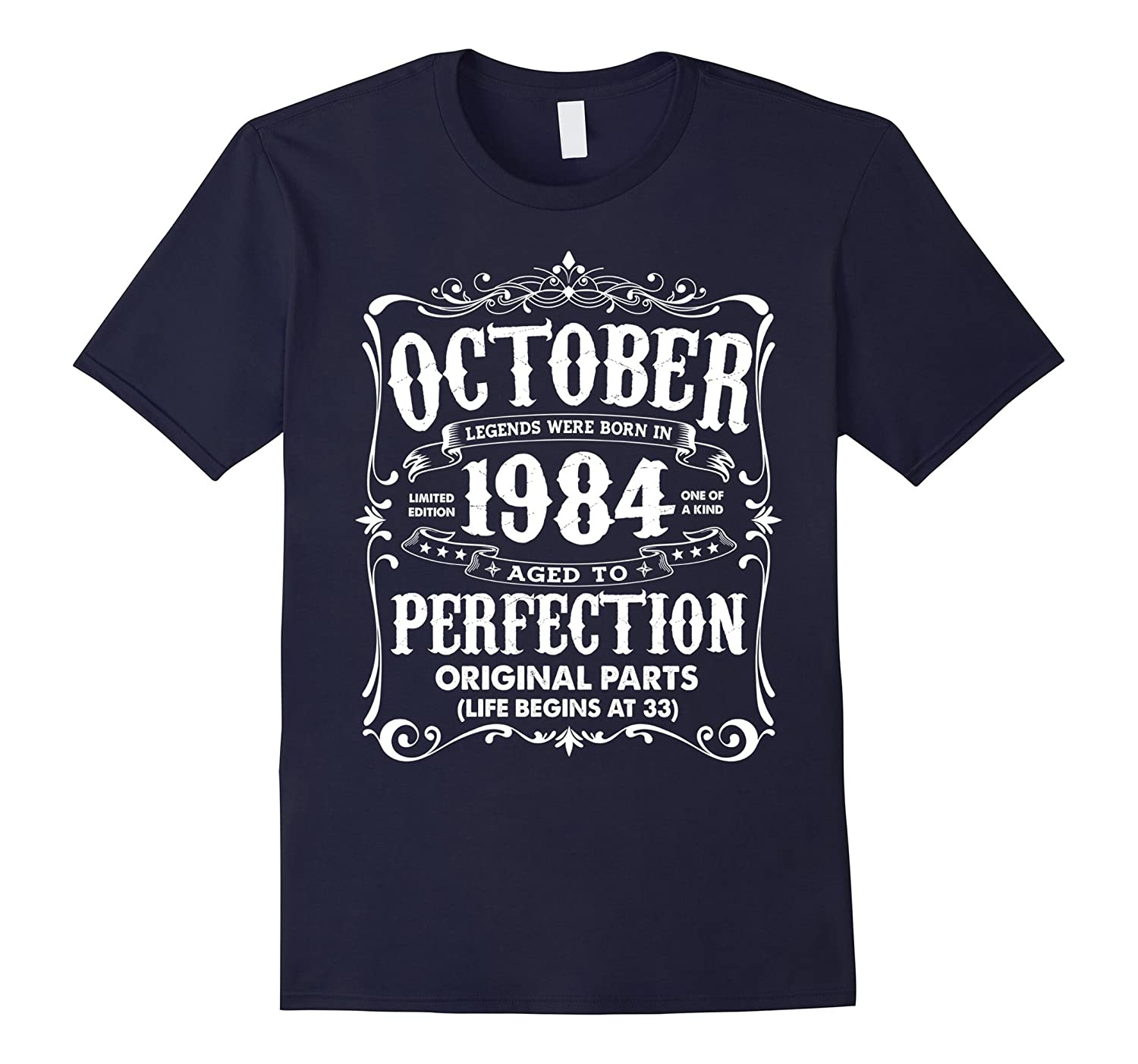 Vintage Legends Born In October 1984 Birthday T-Shirt-FL