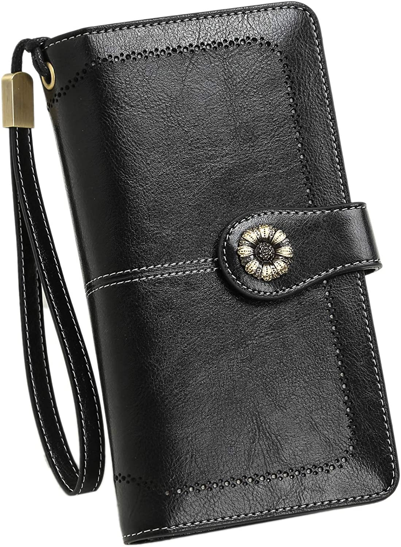 Women/'s Long Wallet Clutch RFID Blocking Credit Card Holder Money Wristlet Purse