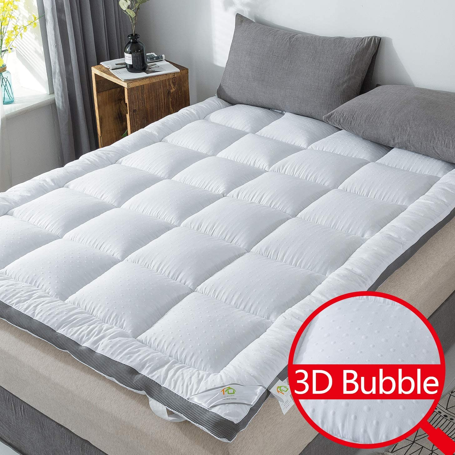 SUFUEE Mattress Topper King Air-Flow 3D Bubble Fabric Thick Quilted Alternative Down Pillow Top Mattress Cover Plush Hotel Quality