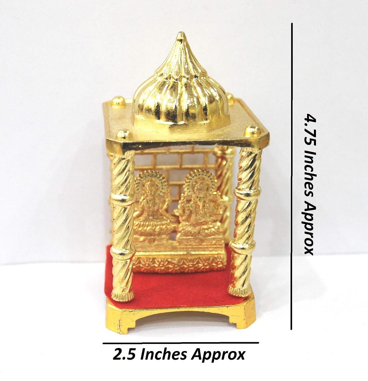Laxmi Idel IndianStore4All Gold Plated Metal Lakshmi Temple Statue Ganesh Pooja Item Ganpati, Ganesha