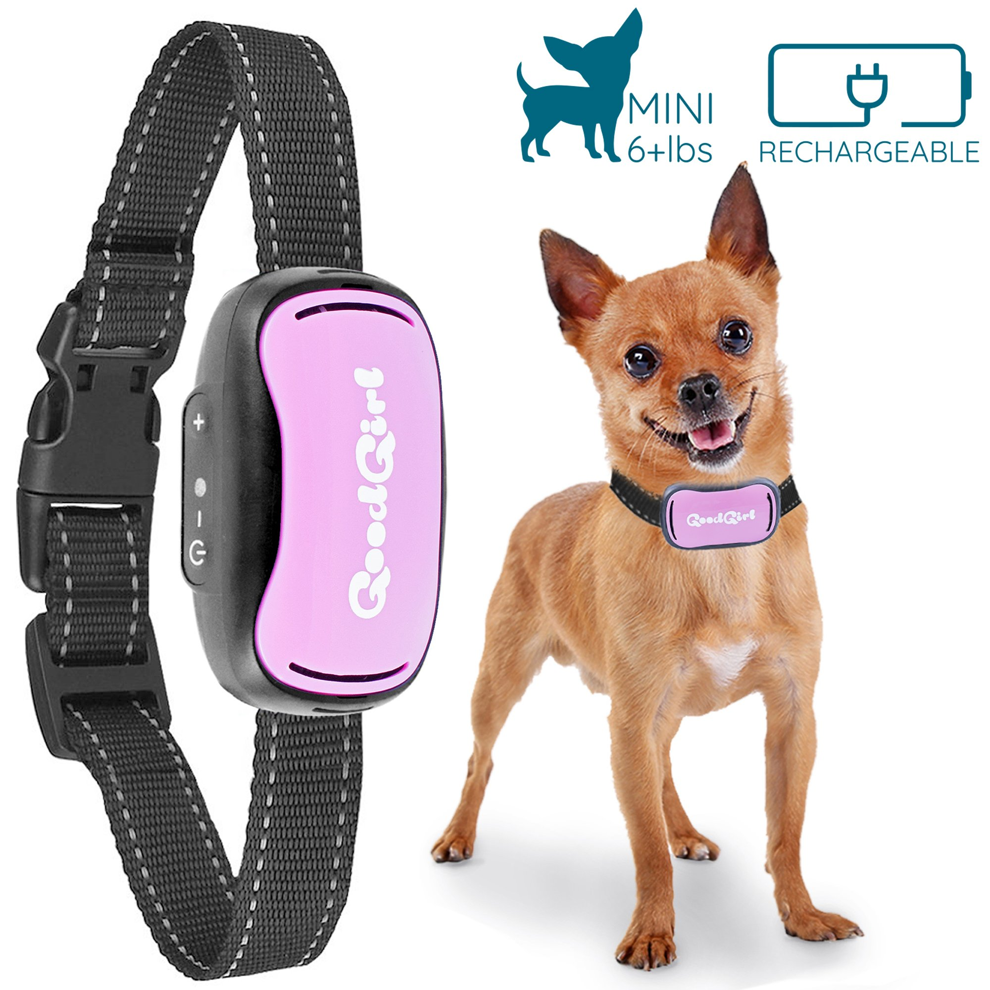 GoodBoy Small Rechargeable Dog Bark Collar for Tiny to Medium Dogs Waterproof and Vibrating Anti Bark Training Device That is Smallest & Most Safe On Amazon - No Shock No Spiky Prongs! (6+ lbs) by GoodBoy (Image #1)