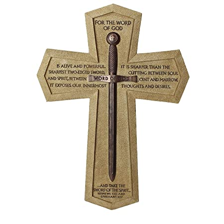 Lighthouse Christian Products Cast Stone Word of God Sword Wall Cross, 11 1 4 x 15