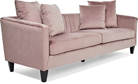 Amazon.com: Elle Decor UPH10040C Celeste Channel Tufted Sofa ...