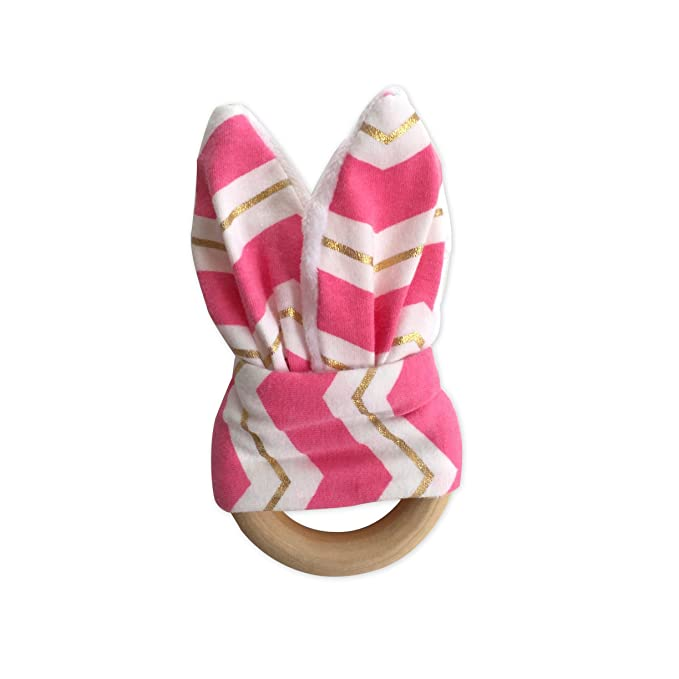 Blue and White Stripe Wood And Cotton Crinkle Sound Bunny Ears Teething Ring