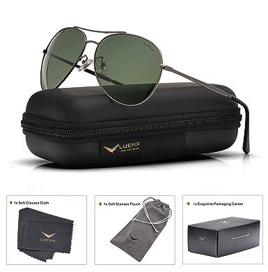 LUENX Herren Sonnenbrille Aviator Polarisiert mit Etui - UV 400 Schutz Schwarz Linse Schwarz Rahmen 60mm EgJVfbG3D
