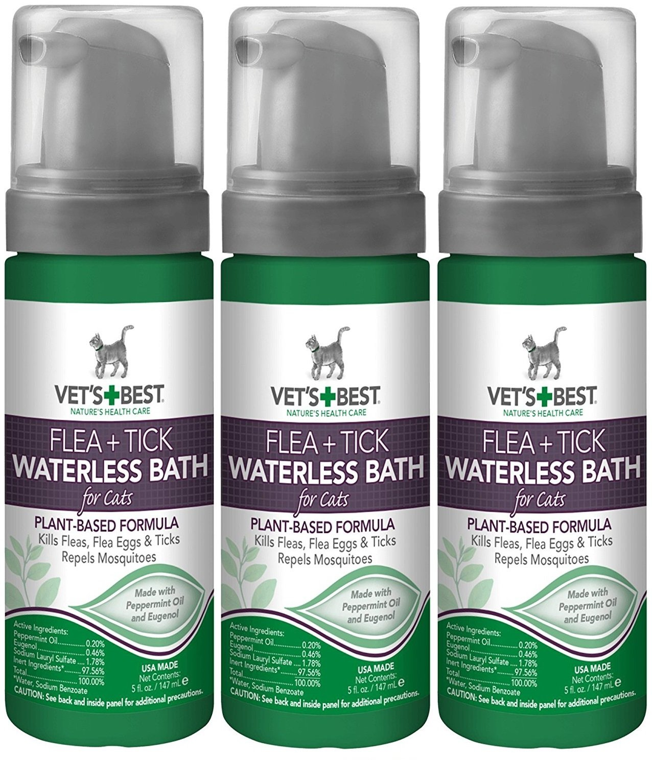 (3 Pack) Vet's Best Natural Flea and Tick Waterless Bath Foam for Cats, 5 oz by Vet's Best