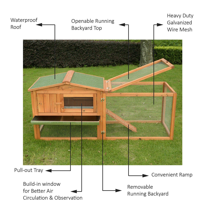 PawHut 62'' Outdoor Guinea Pig Pet House/Rabbit Hutch Habitat with Run by PawHut (Image #3)