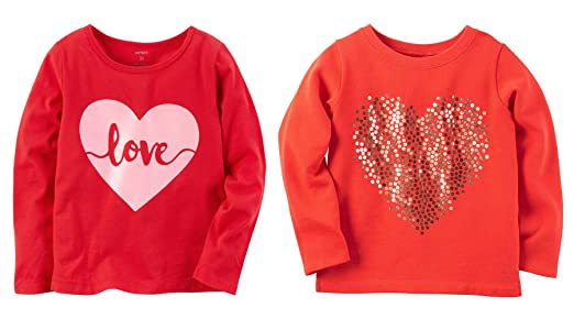 Amazon Com Carter S Toddler Girl S 2 Piece Valentines Day Red Love