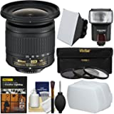 Nikon 10-20mm f/4.5-5.6G DX AF-P VR Zoom-Nikkor Lens with 3 Filters + Flash + Soft Box + Diffuser + DVD + Kit
