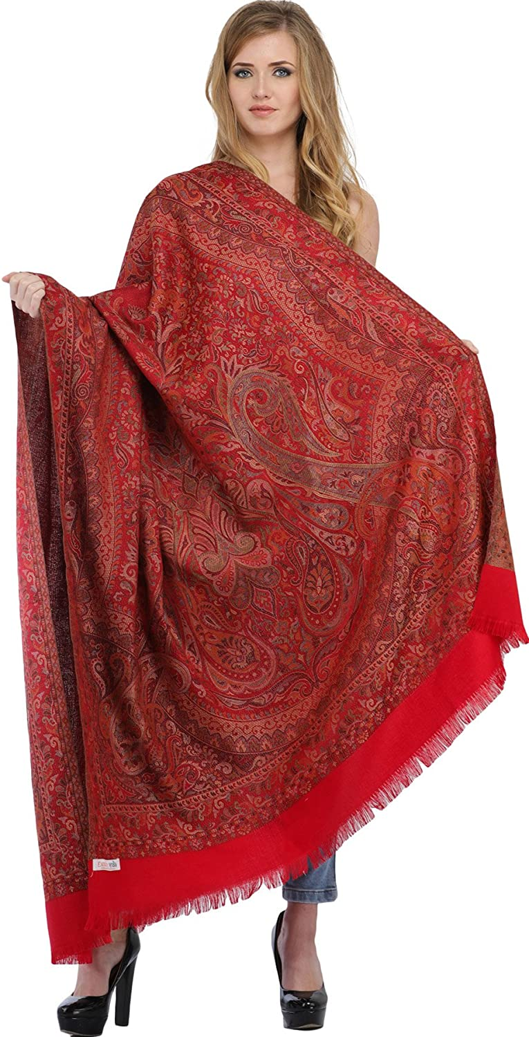 Exotic India Reversible Jamawar Shawl with Woven Paisle - Color Light Taupe SWL33--light-taupe