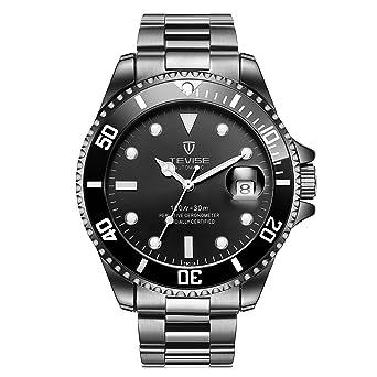 Swiss Luminous Submariner Watch Mens Mechanical Watch Fashion Steel Waterproof Watch (Black)